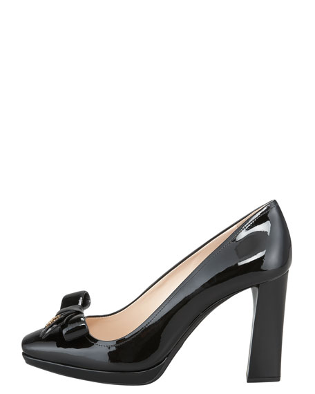 Patent Leather Square-Toe Bow Pump