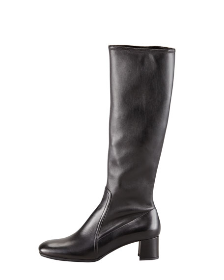 Stretch Leather Square-Toe Boot