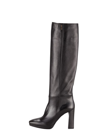 Leather Square-Toe Heeled Boot