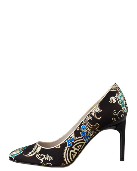 Lily Brocade Pointed-Toe Pump