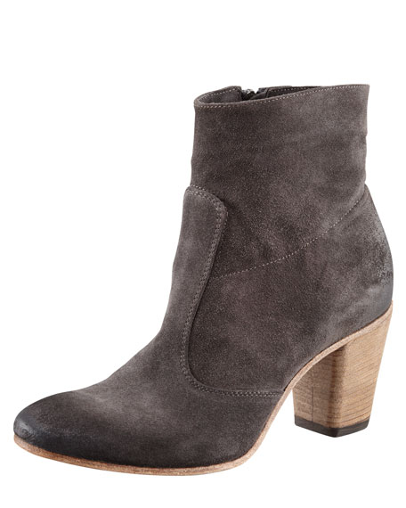 Suede Mid-Heel Ankle Boot