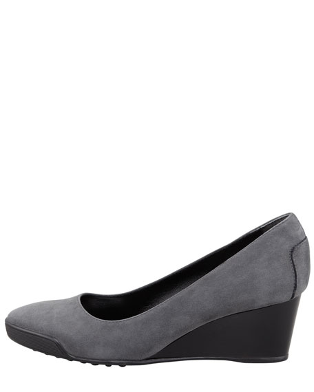 Suede Wedge, Gray