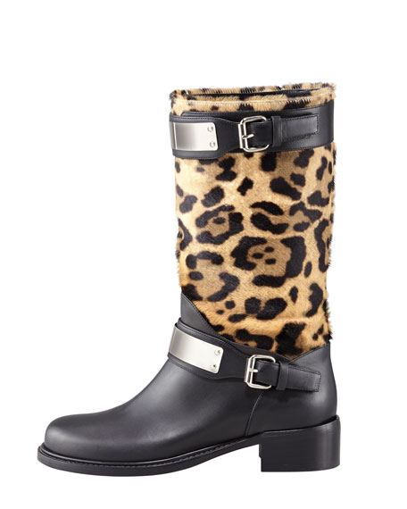 Mixed-Media Mid-Calf Boot