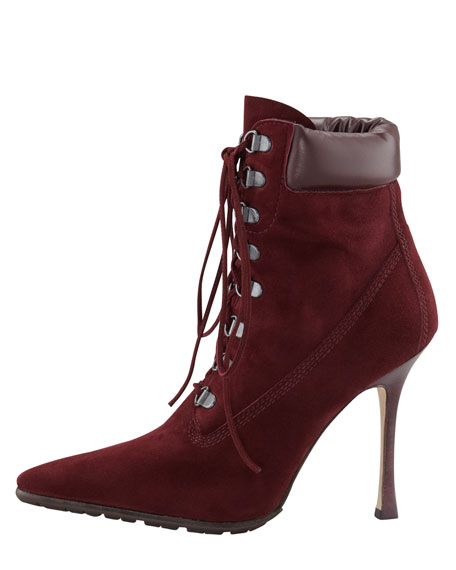 Oklamod Suede Lace-Up Bootie