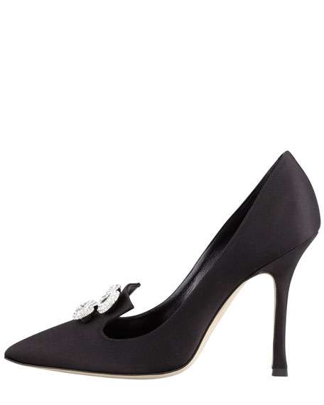 Ambusciat Infinity-Ornament Satin Pump, Black