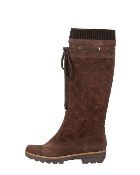Kicks Quilted Suede Tall Boot, Canyon