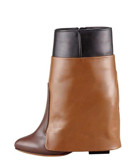 Tricolor Wedge Ankle Boot