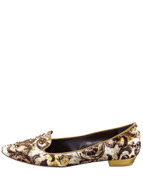 Velvet Baroque Beaded Slipper