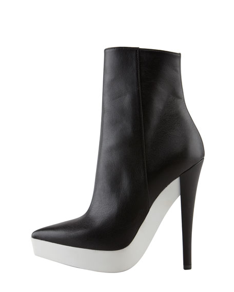 Rubber-Platform Faux Leather Boot