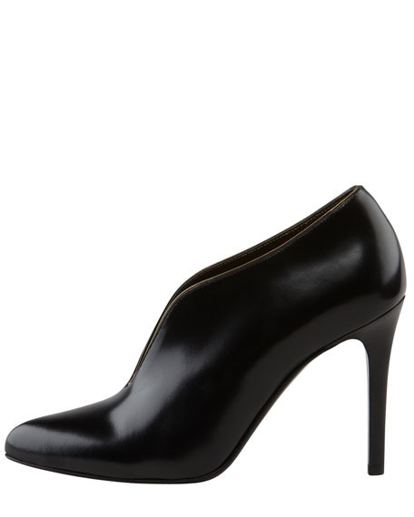 Plunging Vamp Leather Bootie