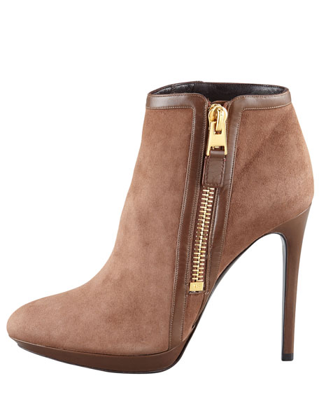 Leather-Panel Suede Bootie