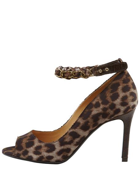 Ostrich-Trimmed Leopard Canvas Pump
