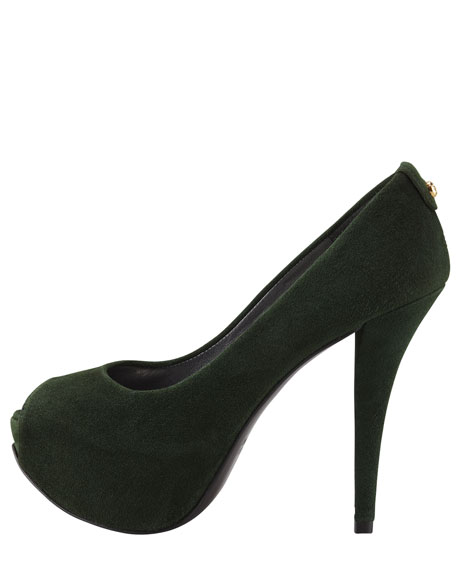 Just So Suede Peep-Toe Platform Pump