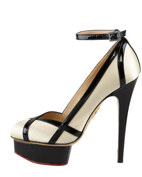 Harlequin Patent-Trimmed Satin Pump