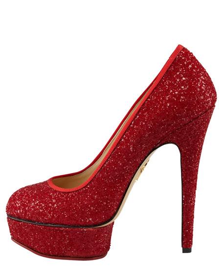 Priscilla Glitter Platform Pump, Red