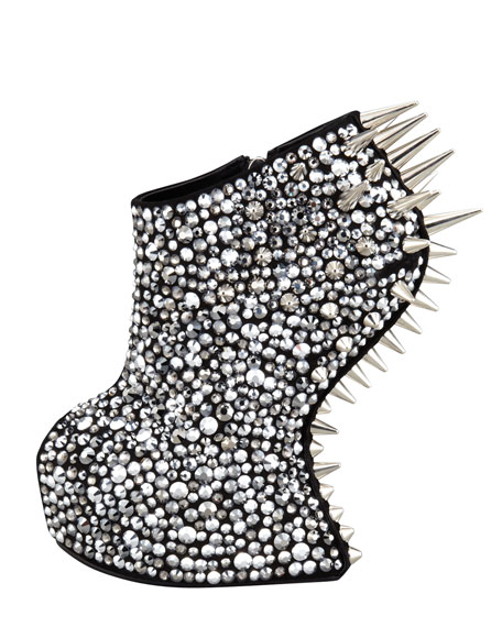Studded Crystal-Covered No-Heel Bootie