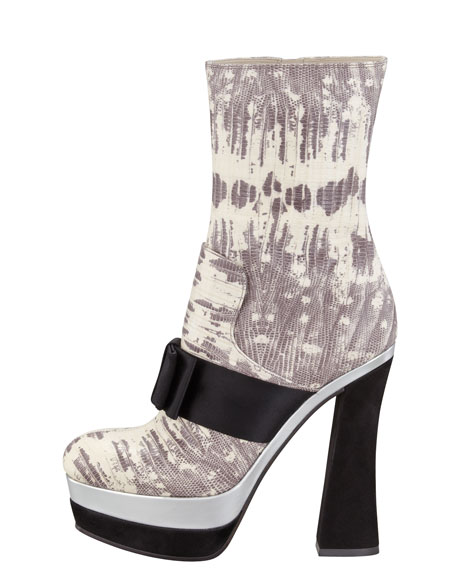 Faux Snakeskin Mid-Calf Boot