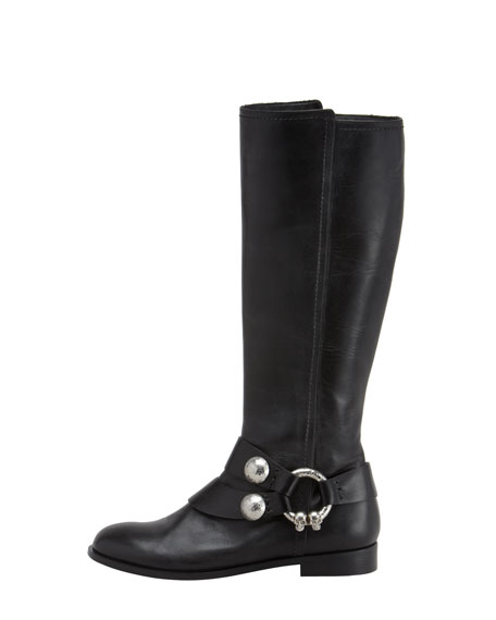 Skull-Bridle Flat Boot