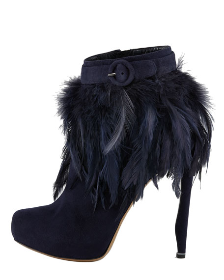 Feather-Trim Suede Bootie