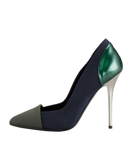 Single Sole Pointed Pump, Grey/Navy/Green