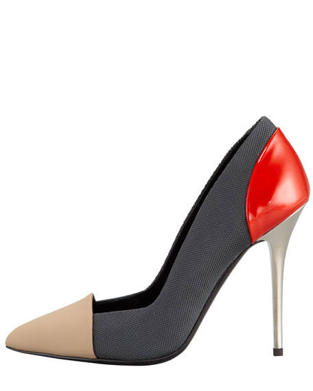 Single Sole Pointed Pump, Grey/Red/Tan