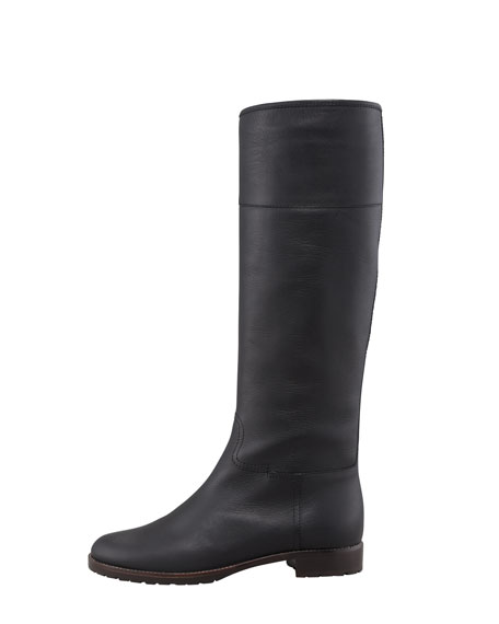 Leather Flat Riding Boot