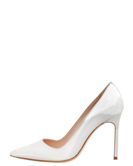 BB Point-Toe Metallic Pump, Silver