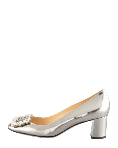dandy specchio low-heel pump, pewter