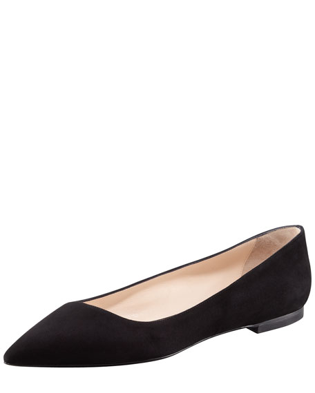 Suede Pointed-Toe Ballerina Flat