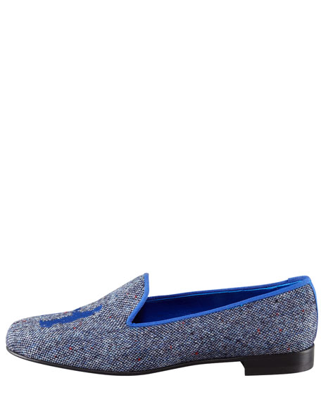 Audrey Tweed Smoking Loafer, Royal Blue