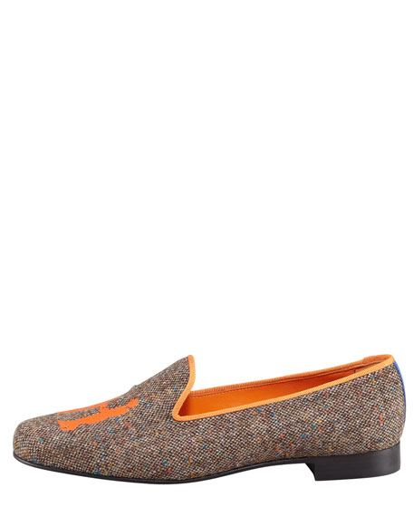 Audrey Tweed Smoking Loafer, Orange