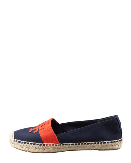 Weston Flat Espadrille, Navy/Flame Red