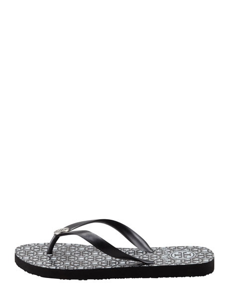 Rubber Logo Flip-Flop, Black/Pewter