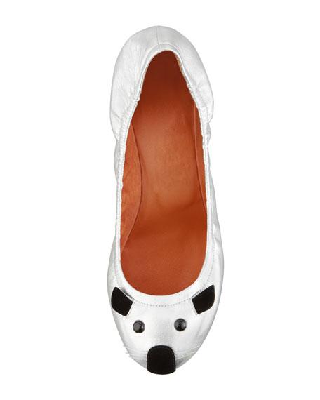 Soft Mouse Ballerina Flat, Silver