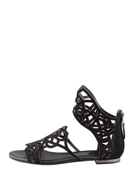 Cutout-Suede Flat Sandal, Black