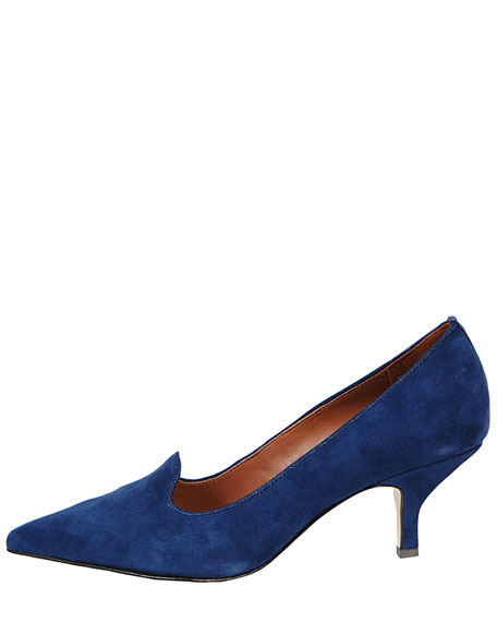 Clark Pointed-Toe Suede Smoking-Slipper Pump, Blue