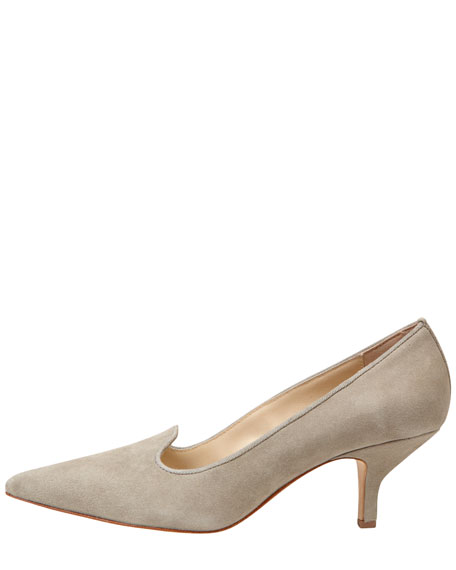 Clark Pointed-Toe Suede Smoking-Slipper Pump, Gray