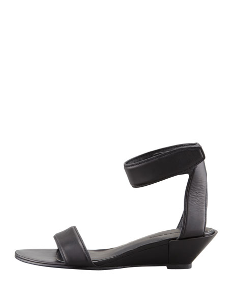 Vika Low-Wedge Leather Sandal