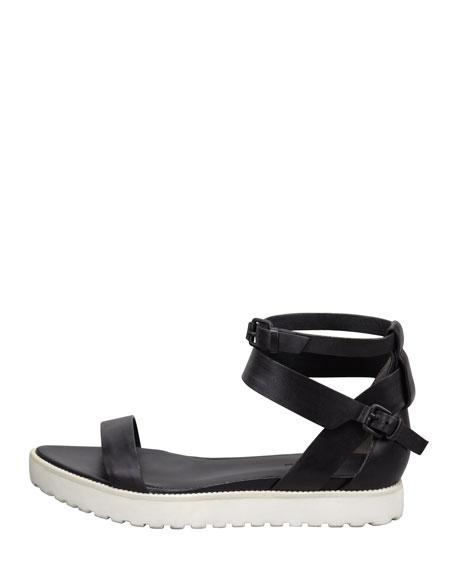 Jade Leather Sandal, Black