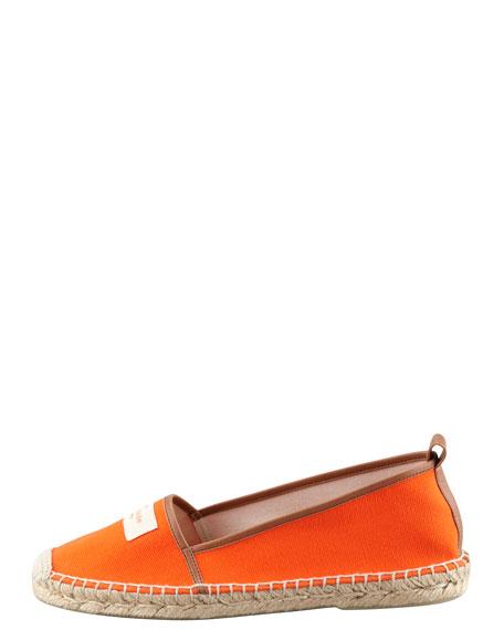 lara logo espadrille flat, orange