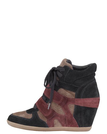Suede Wedge Sneaker, Bordeaux/Black