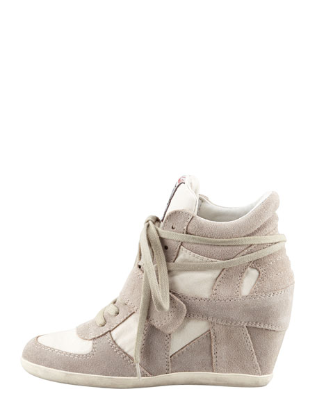 Suede & Canvas Wedge Sneaker, Clay
