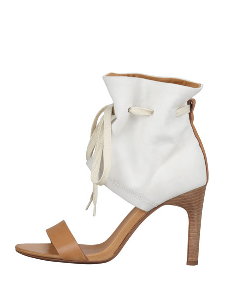 Ruched Ankle-Cuff Sandal, Cream