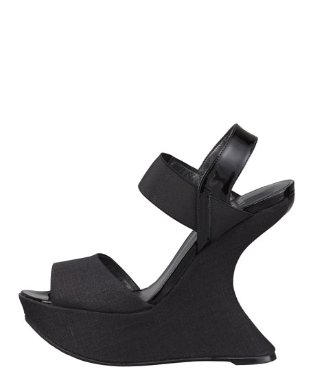 Linen Patent-Strap Wedge Sandal