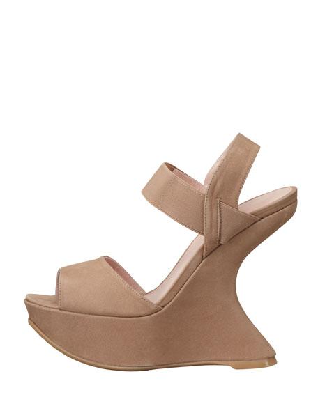 Bandana Suede Elastic-Strap Wedge Sandal