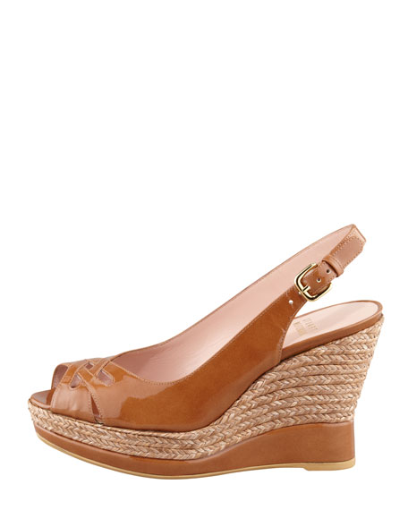 Dolunch Patent Espadrille Wedge Sandal, Syrup