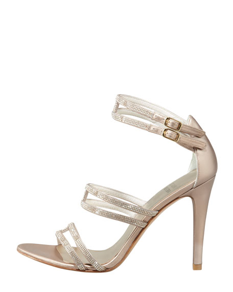 Stops Traffic Crystal Strappy Sandal, Beige