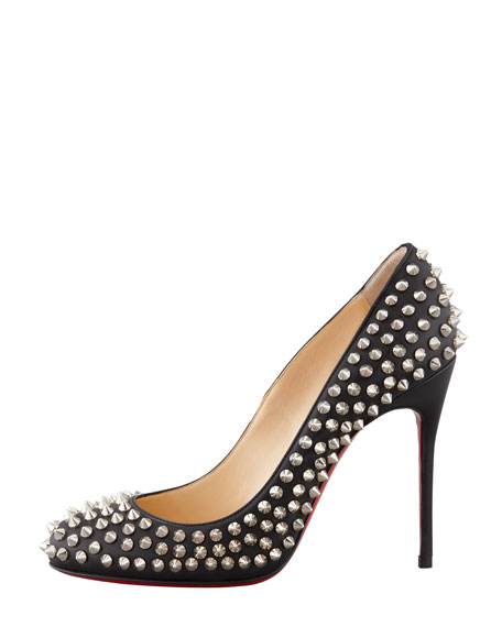 Fifi Spikes Red Sole Pump, Black