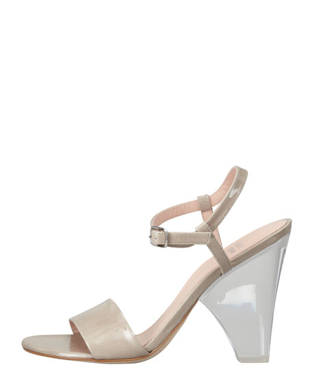 Lucite-Heel Leather Sandal