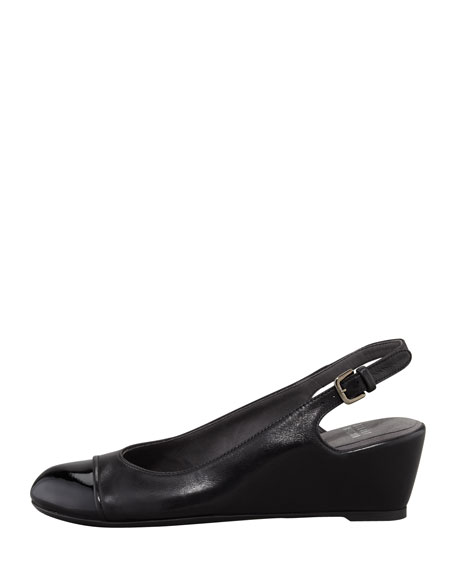 Tipin Cap-Toe Slingback Wedge, Black